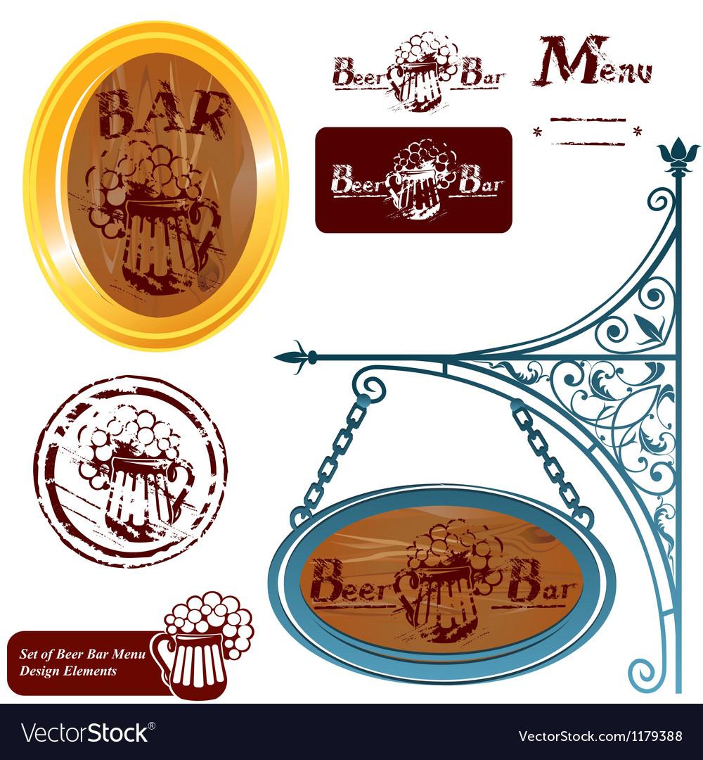 Set of different beer bar menu design elements