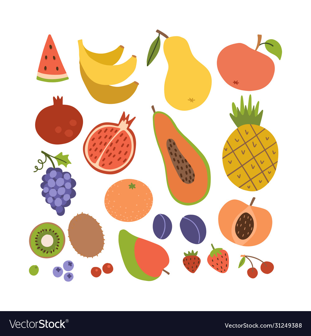 Simple cute fruit icon collection set colorful