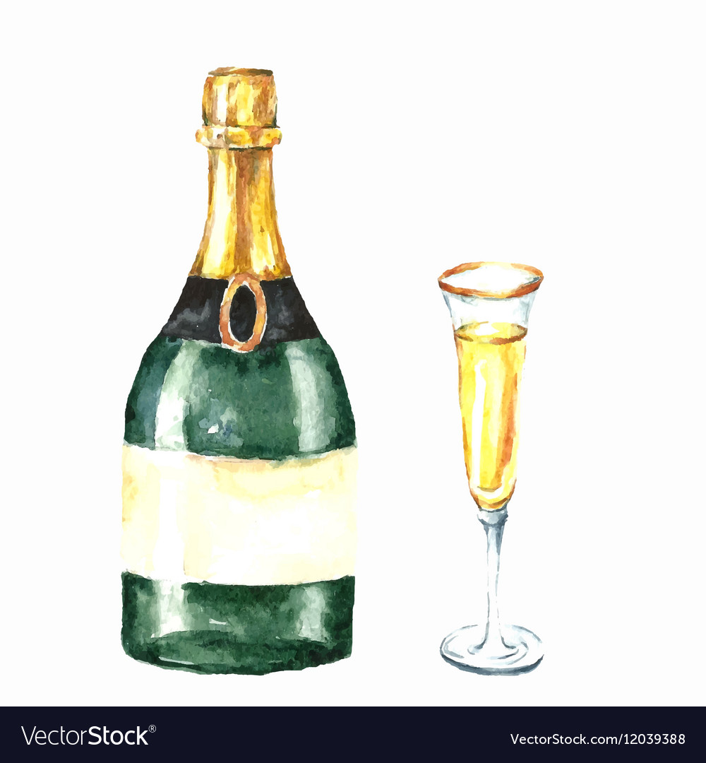 Watercolor champagne bottle and glasses