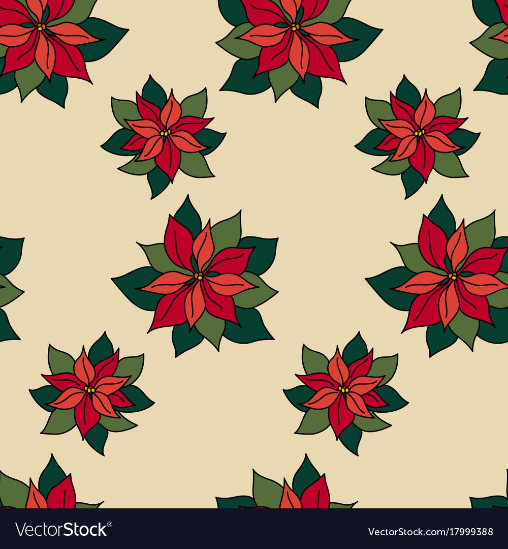 Xmas seamless pattern with poinsettia star plant