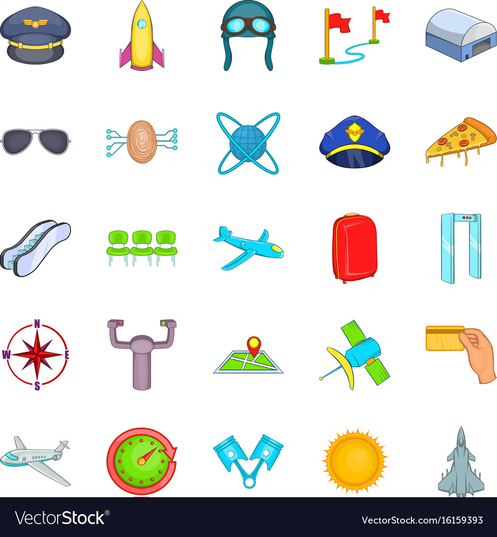 Aircraft pilots icons set cartoon style