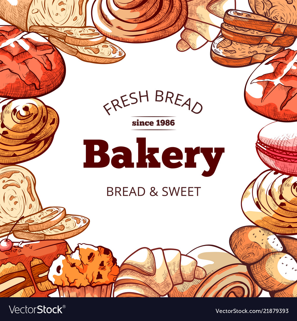Bakery products fresh and tasty bread background
