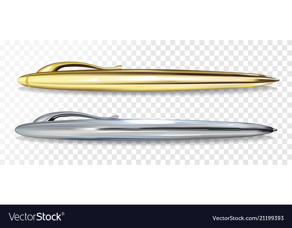 Ballpoint pen golen and silver vector image