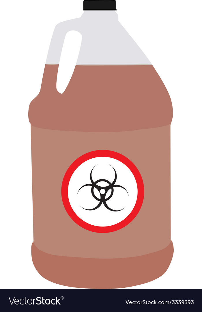 Bottle with biohazard and toxic symbol