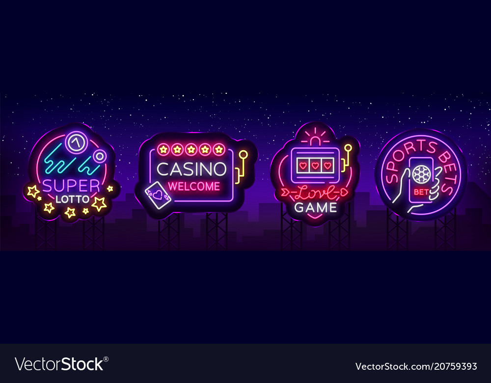 Casino collection of neon signs design template