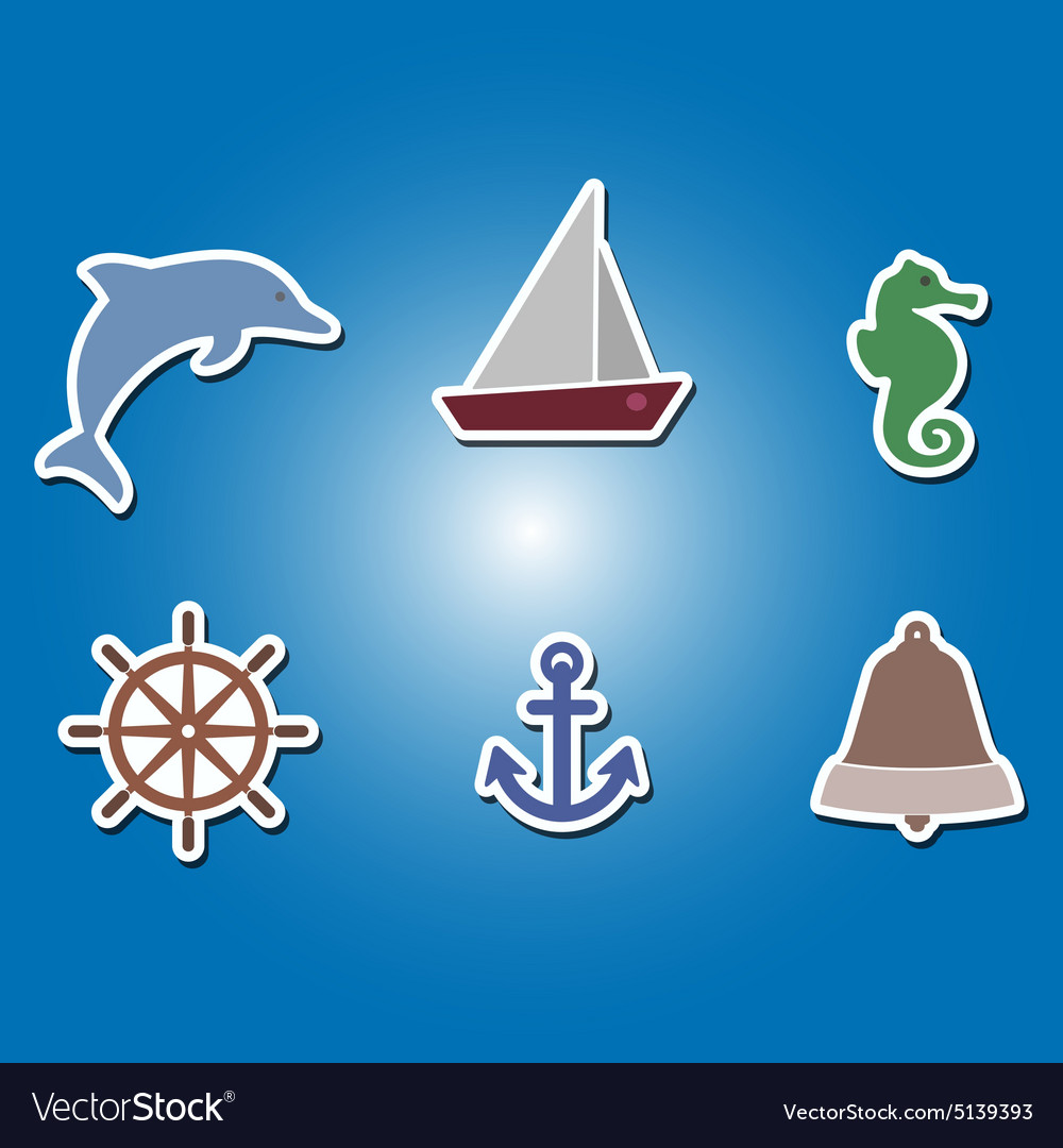 Color icons with marine recreation symbols