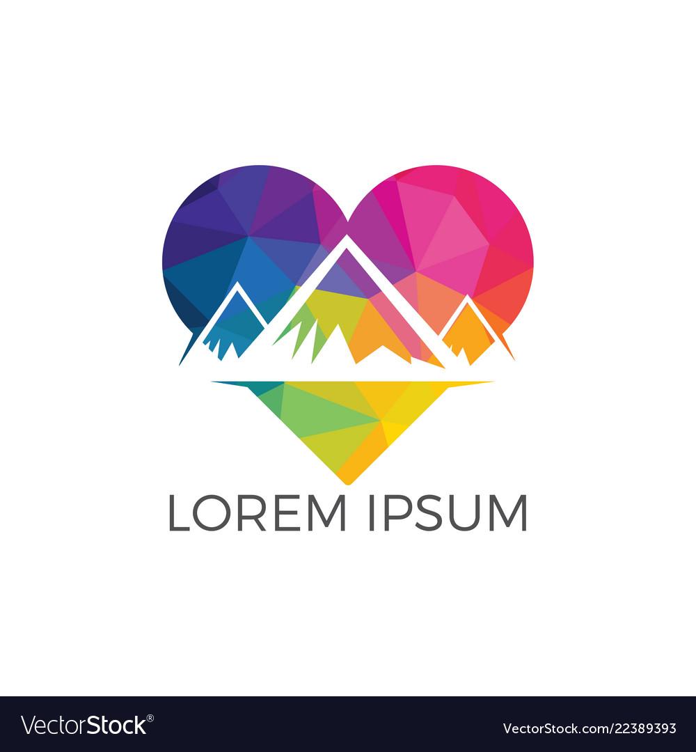 Creative mountain and love logo design