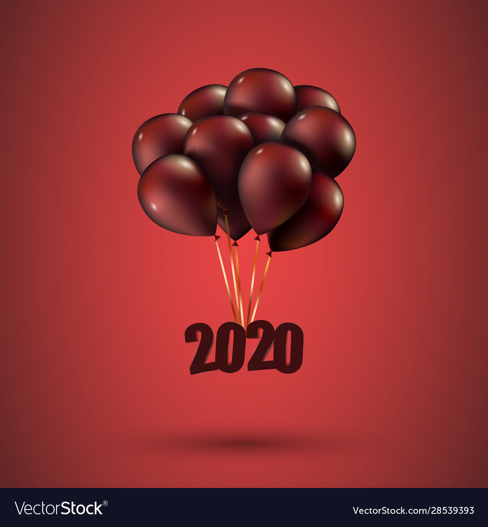 Happy new year 2020 flies on red balloons 3d