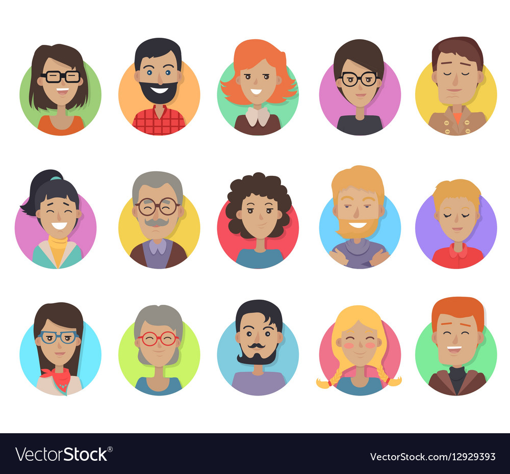 Icons Set with Smiling People of Different Age