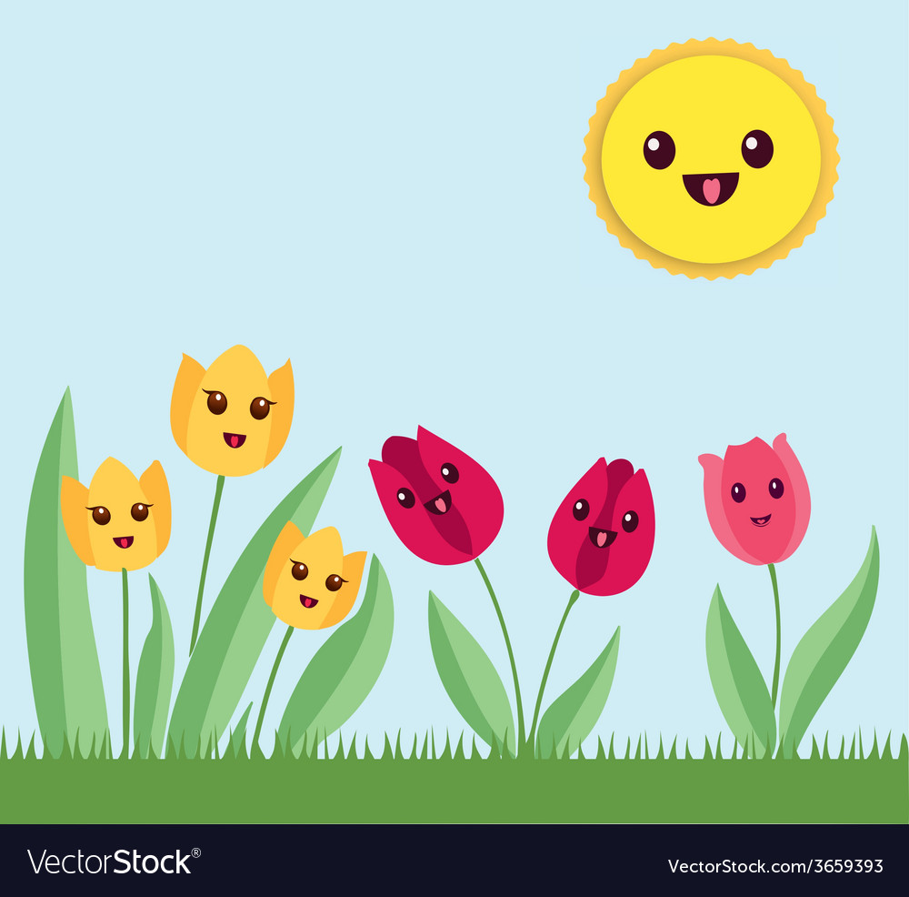 kawaii flowers garden royalty free vector image vectorstock