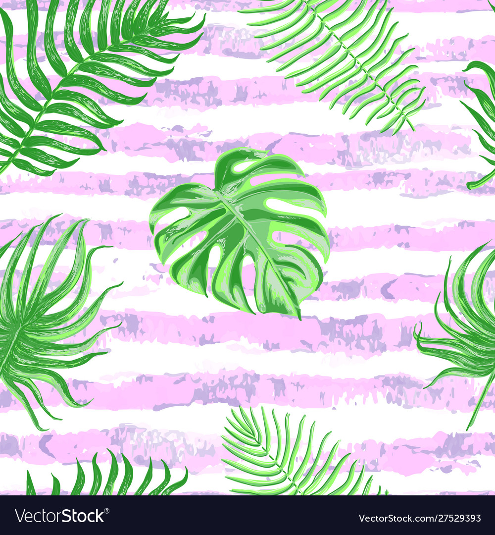 Seamless pattern with tropical leaves on pink