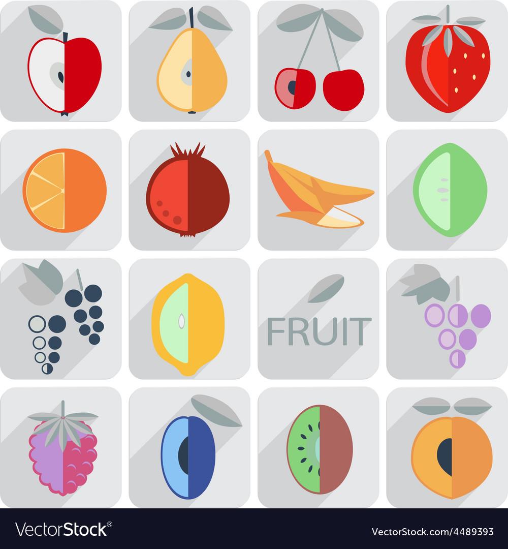 Set of icons fruit flat style