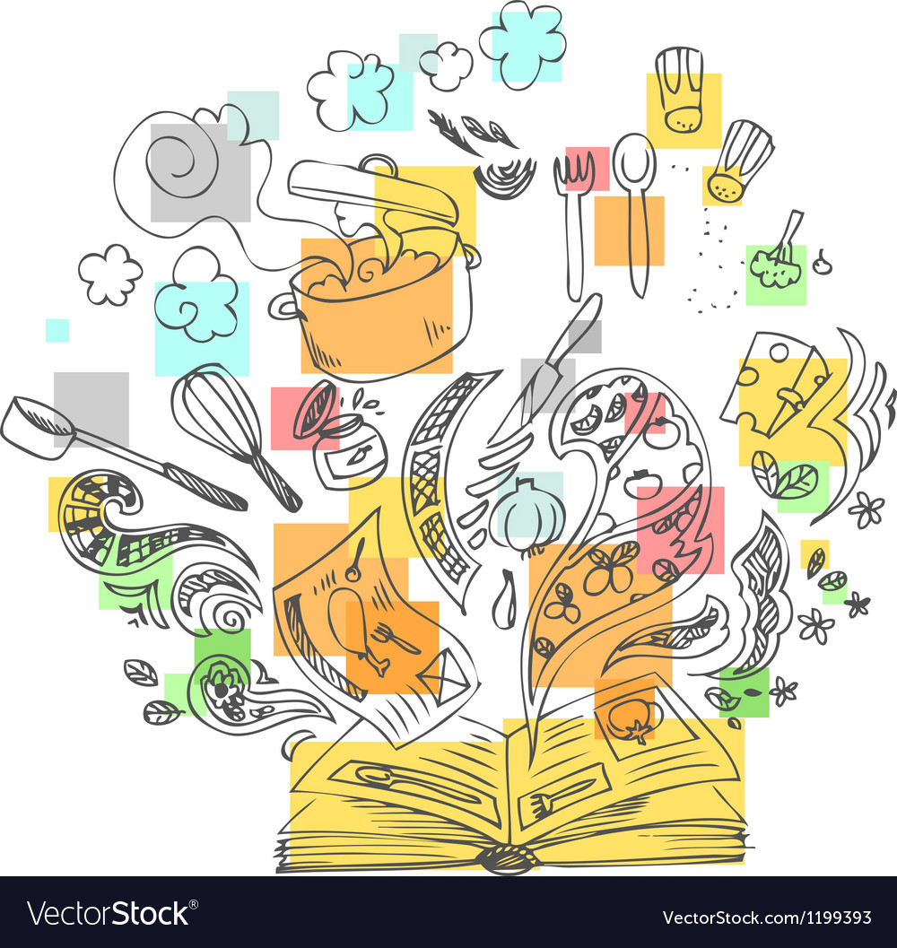 Sketchy doodles cook book vector image