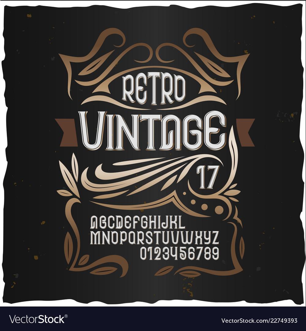 Vintage label font cognac label style with