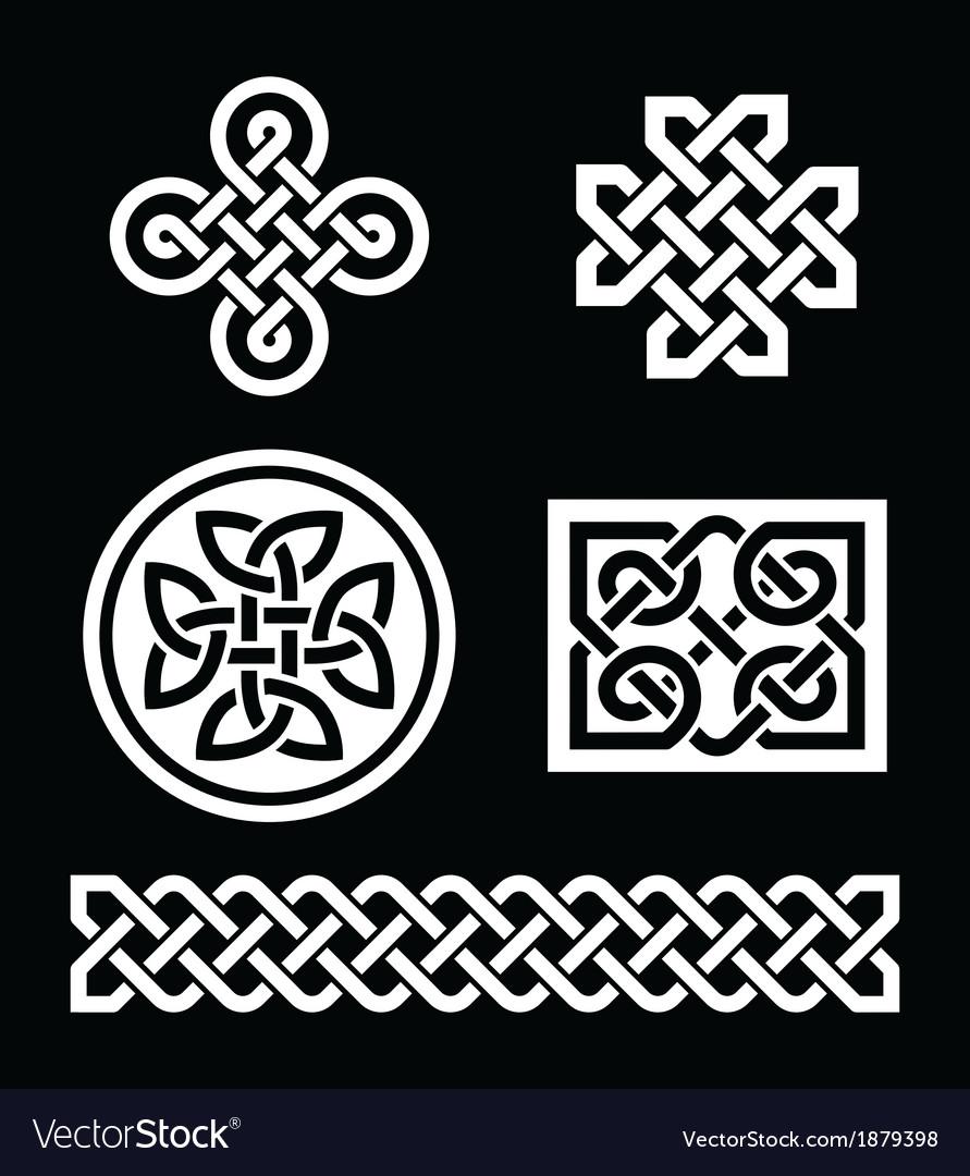Celtic Knots Patterns On Black Background Vector Image