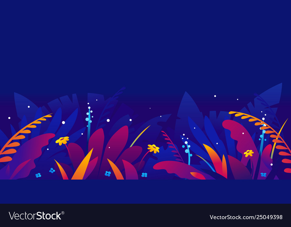 Exotic Tropical Plants In Jungle Night Royalty Free Vector