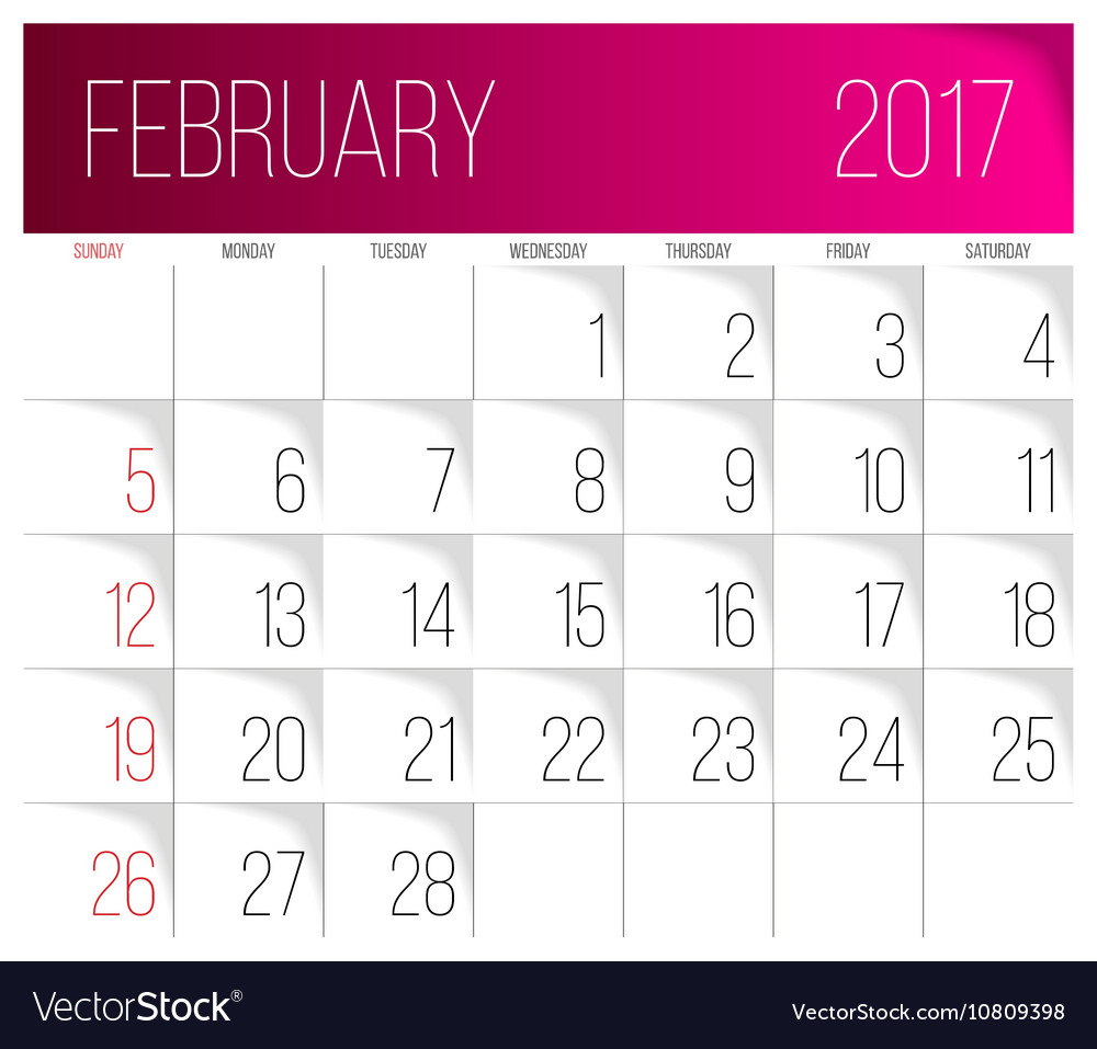 February 2017 calendar template vector image
