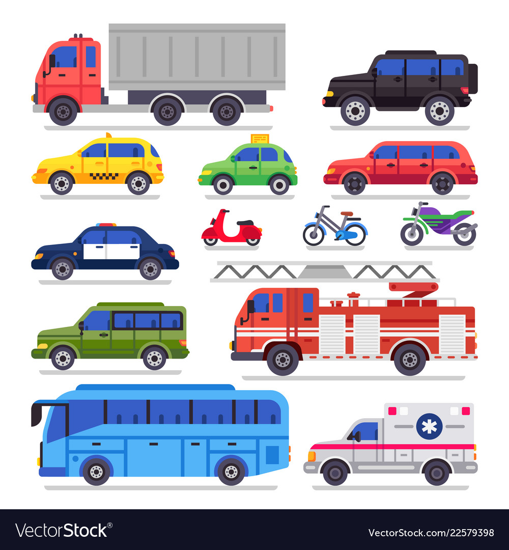 Flat auto transport city road car bicycle and