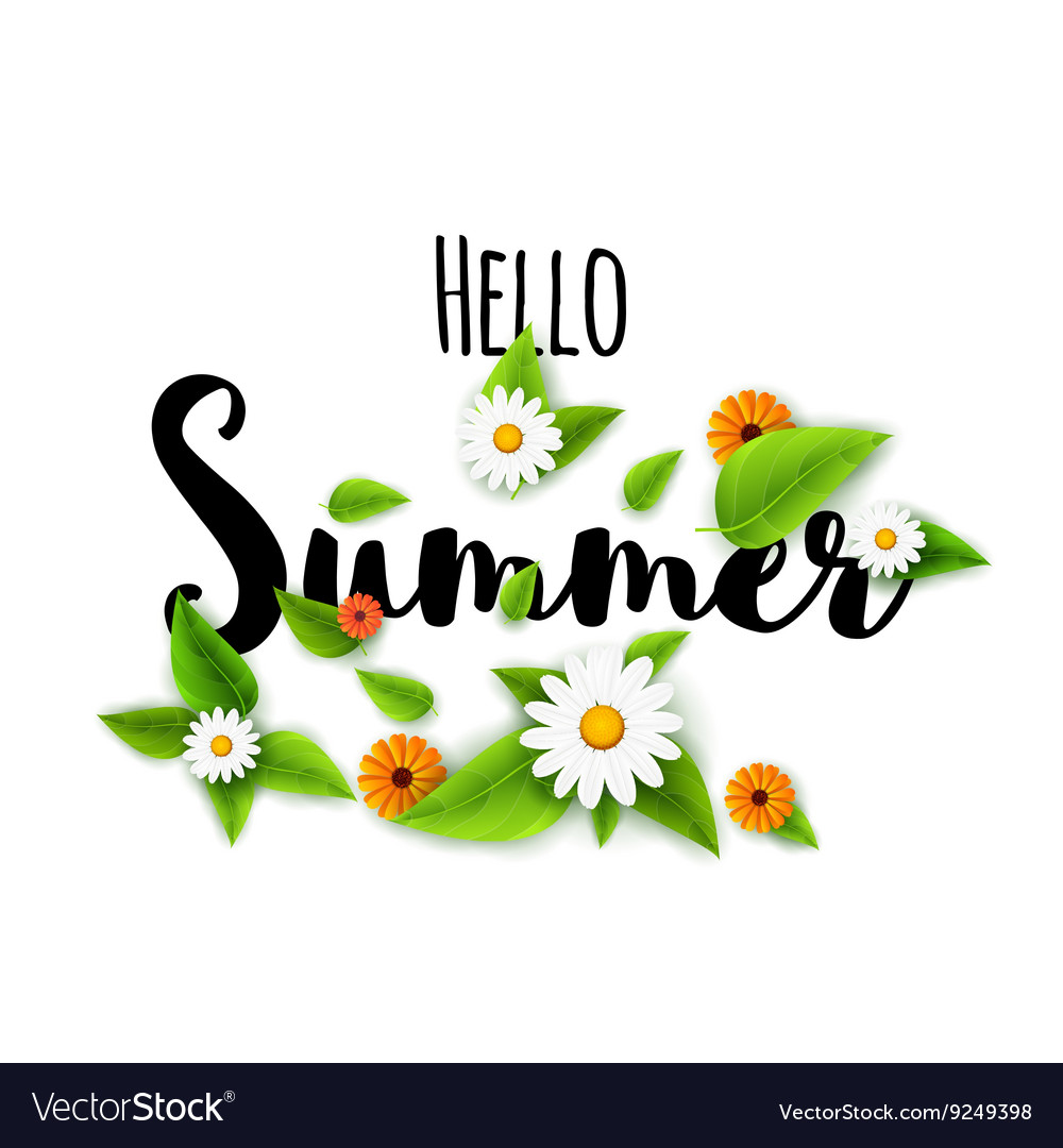 Hello summer lettering typography with flowers on