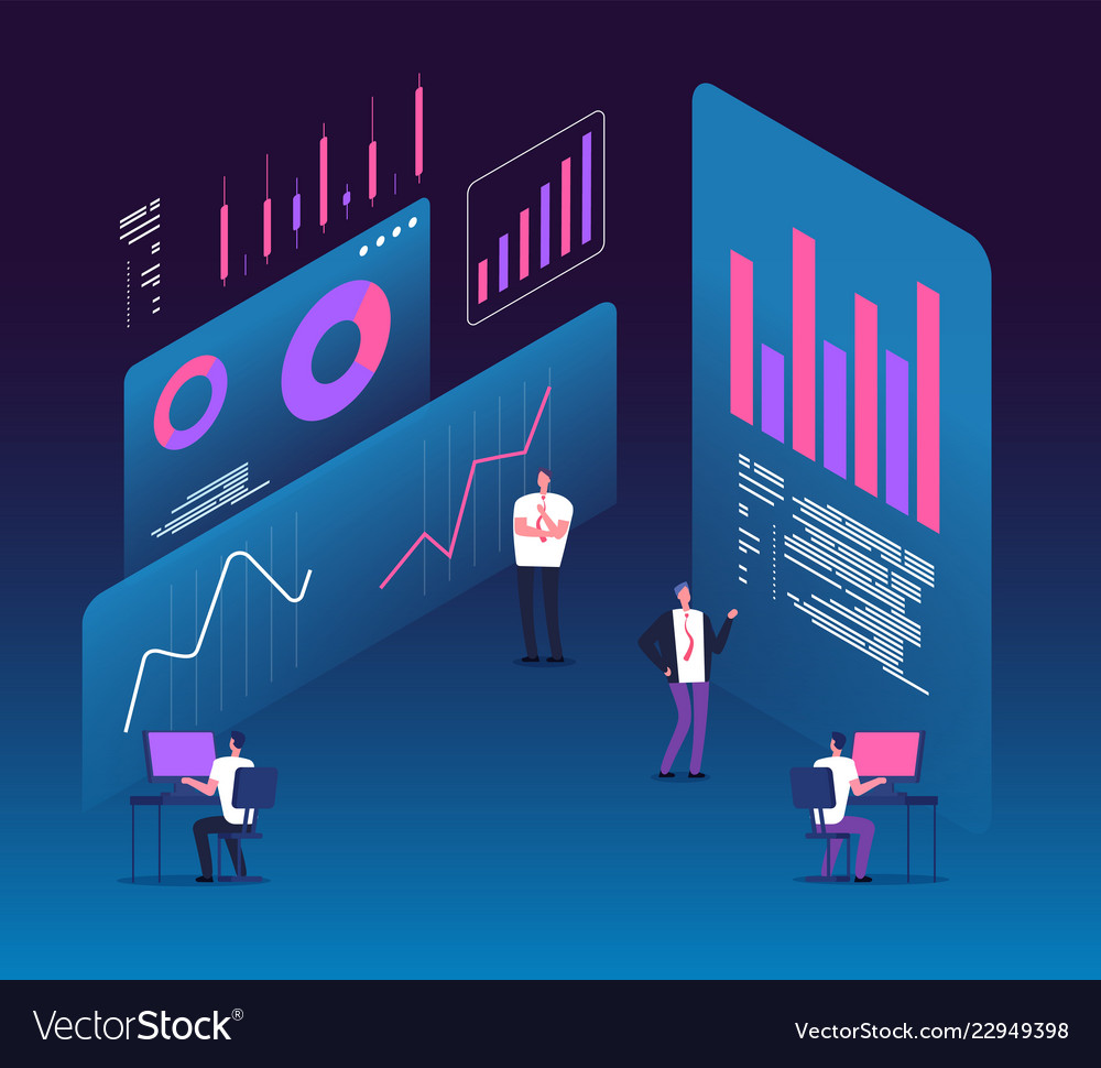 Investment strategy isometric concept people with