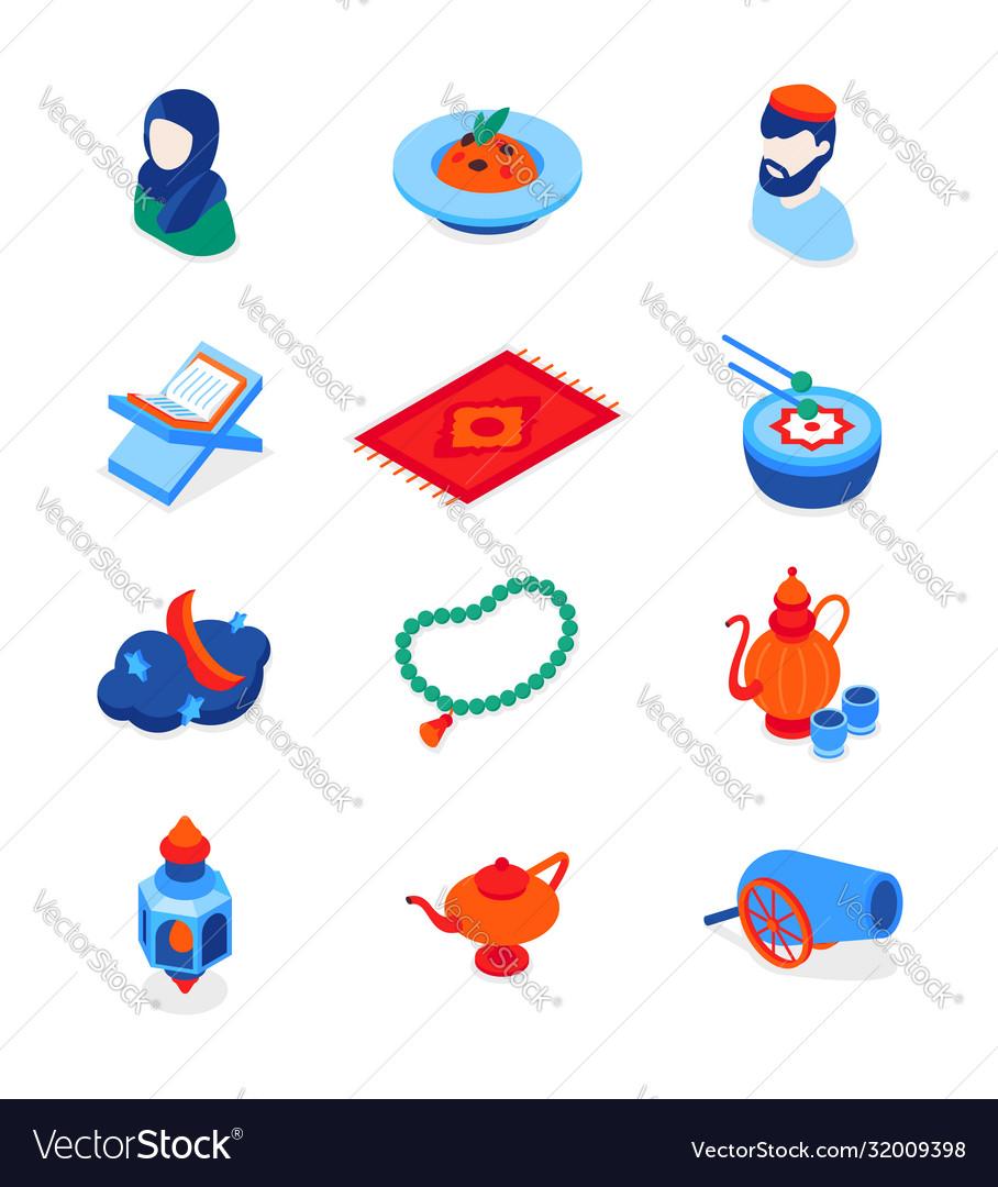 Islamic holiday - modern isometric icons