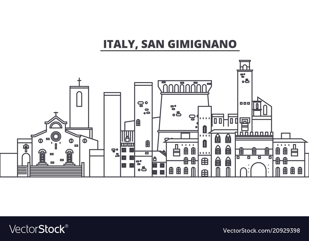 Italy san gimignano line skyline