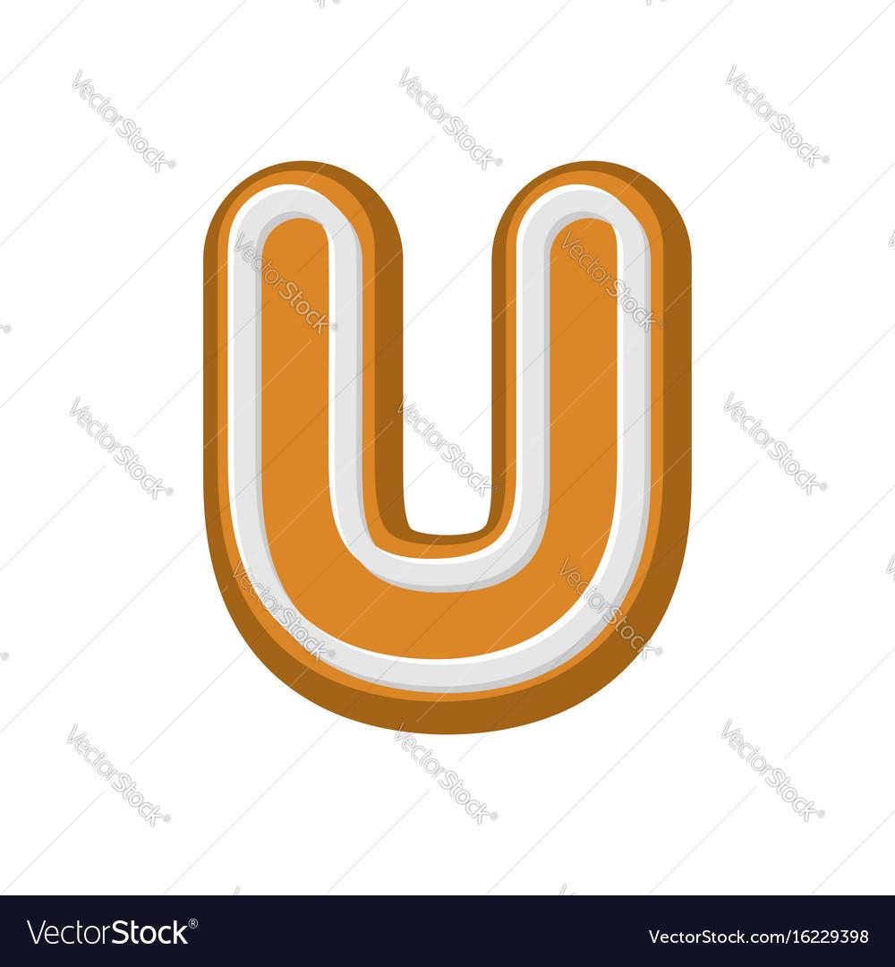 Letter u gingerbread peppermint honey-cake font