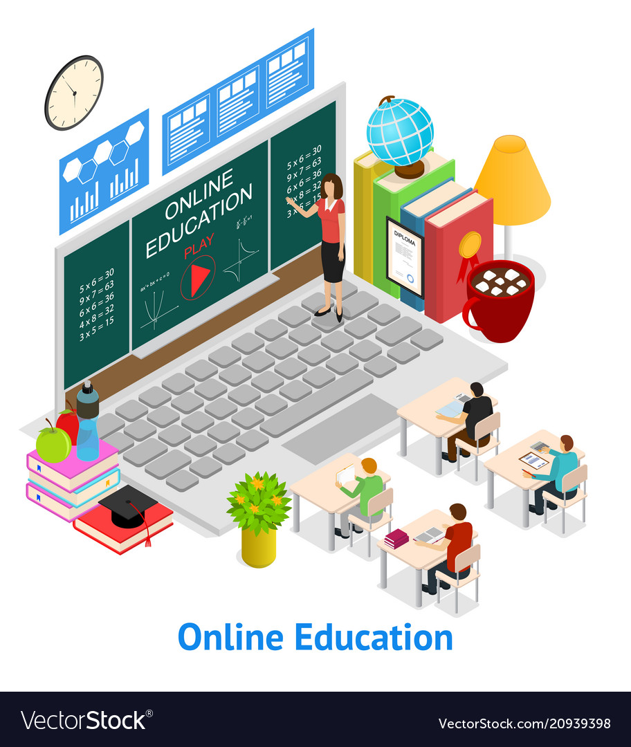 Online education concept card 3d isometric view