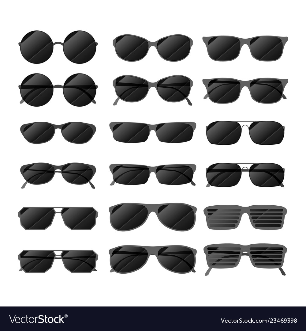 Set of black glossy sunglasses in different style