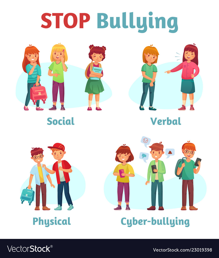 Stop school bullying aggressive teen bully Vector Image