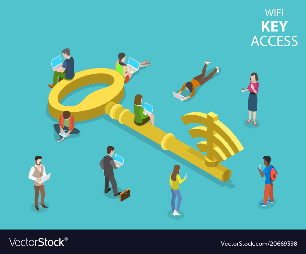 Wifi key access flat isometric concept vector image