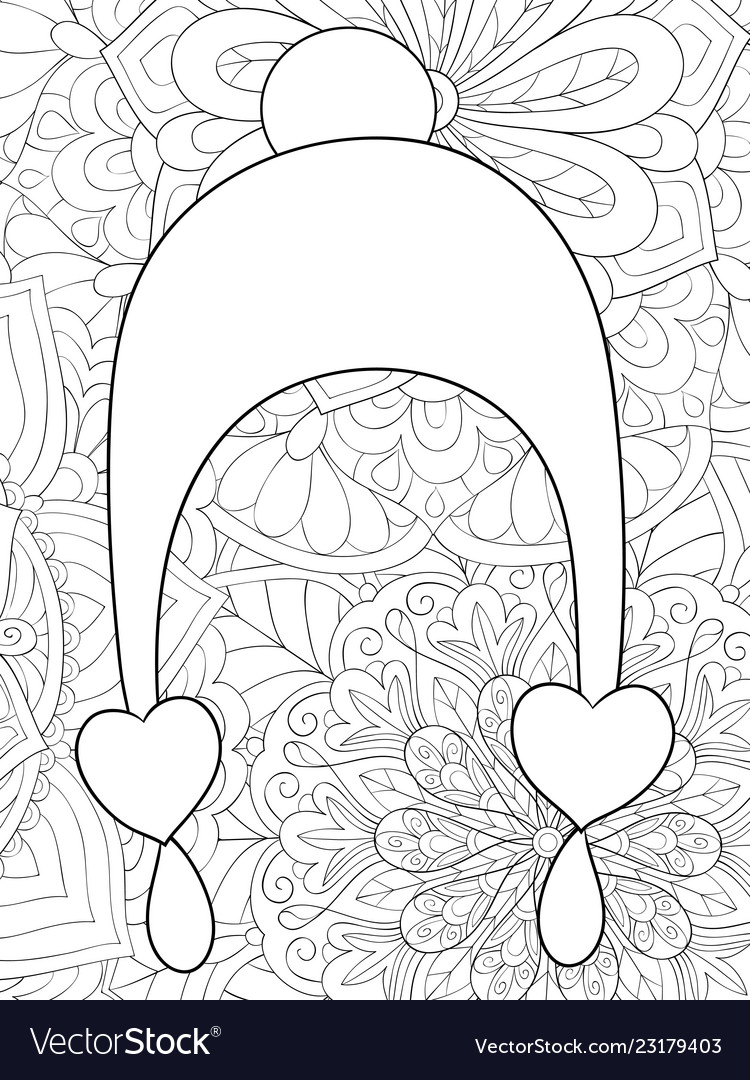 Adult coloring bookpage a cute christmas cap on