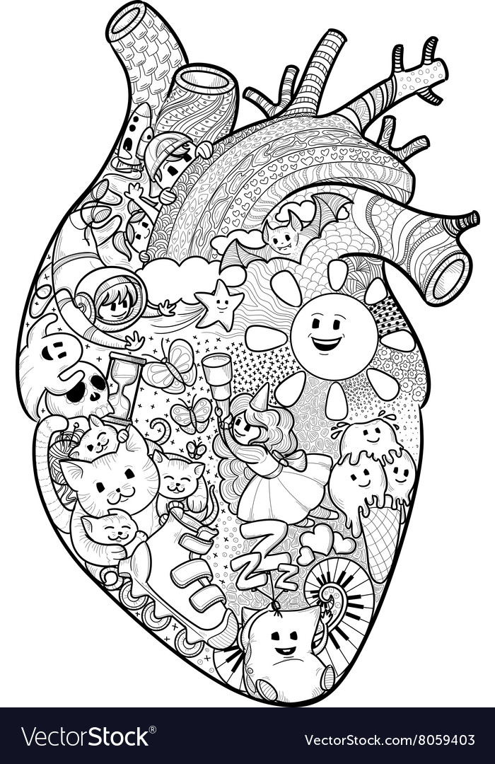 Anatomical heart with funny doodles vector image