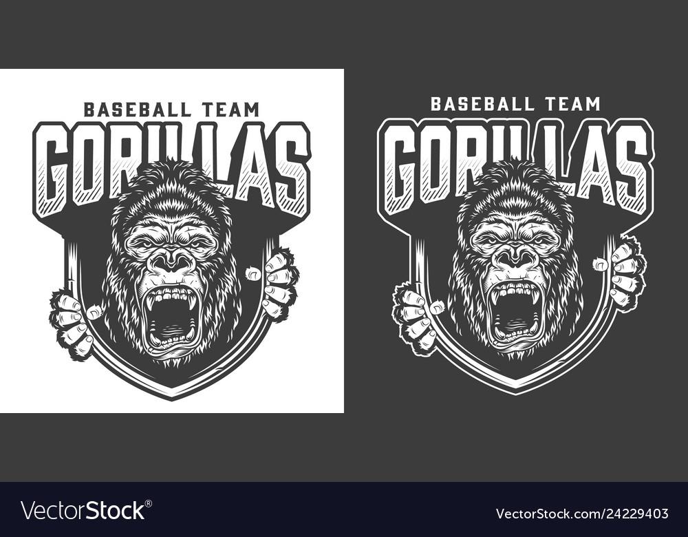 Baseball team angry gorilla mascot emblem