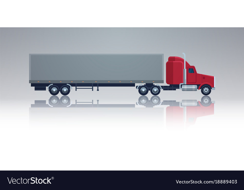 Big Cargo Truck Trailer Vehicle Isolated Template