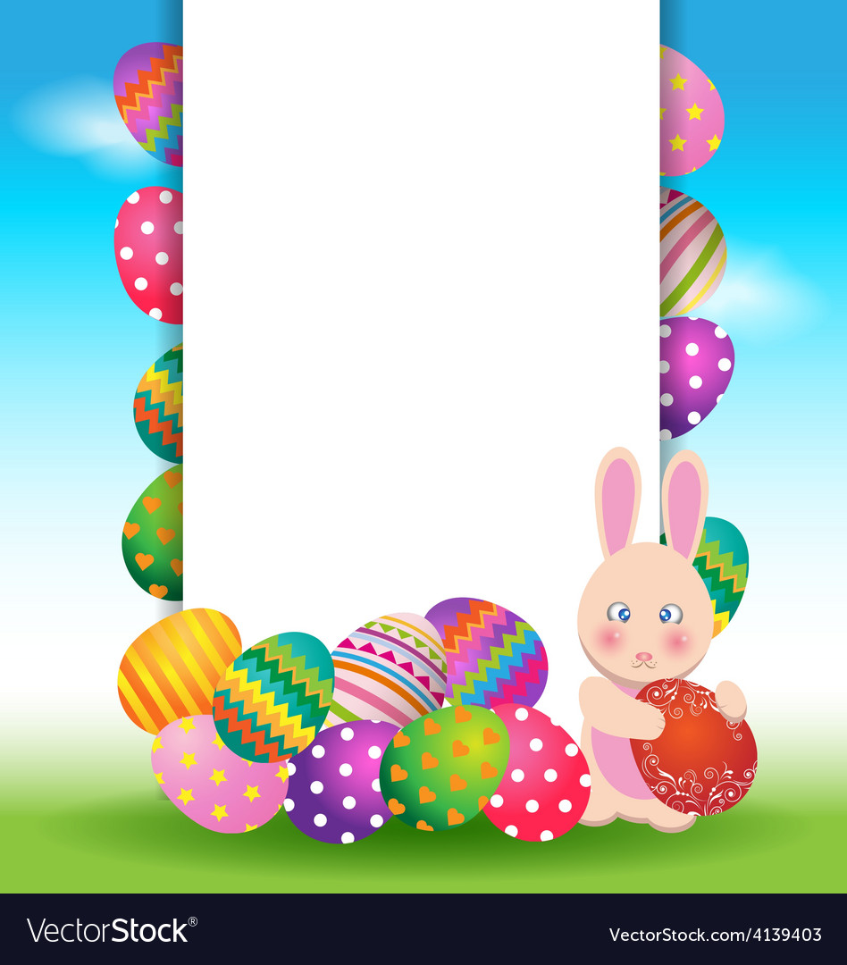 Colorful eggs and bunny for Easter day greeting