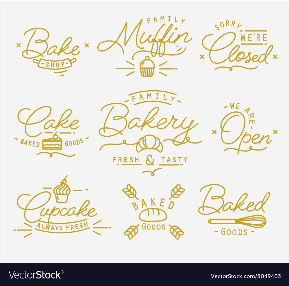 Flat bakery symbols gold