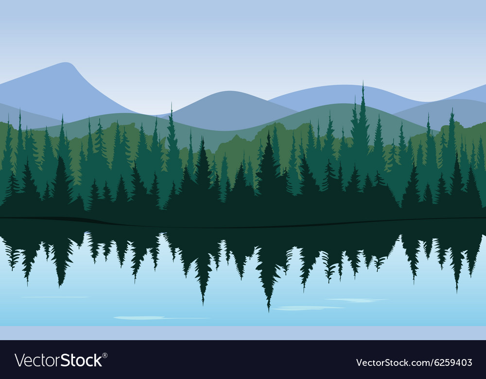 Forest lake panorama vector image