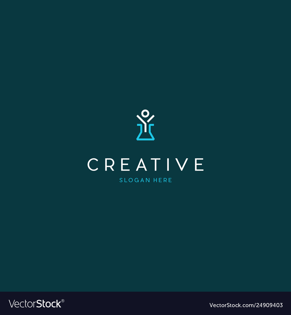 Human people lab science creative technology logo vector image