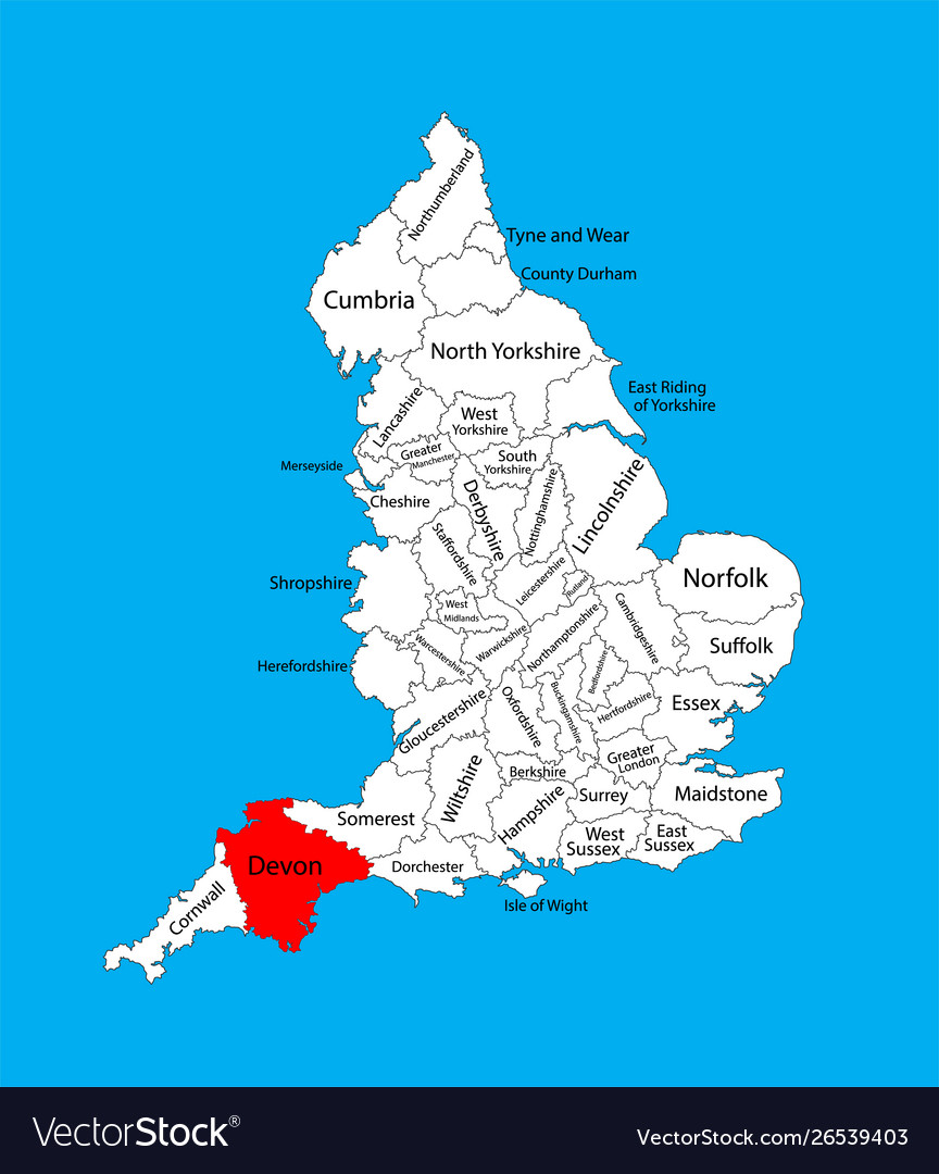 Map devon in south west england united kingdom Vector Image