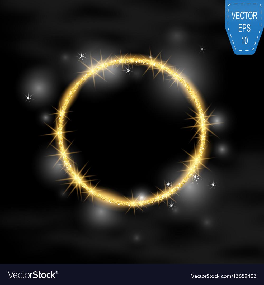 Round frame gold glittering star dust