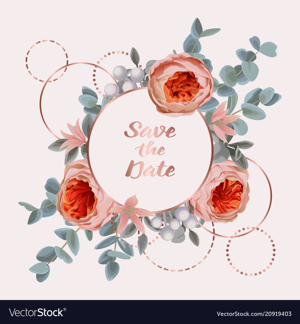 Save date card with eucalyptus flowers and