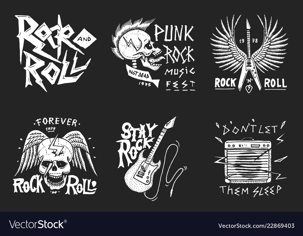 Set rock and roll music symbols with guitar