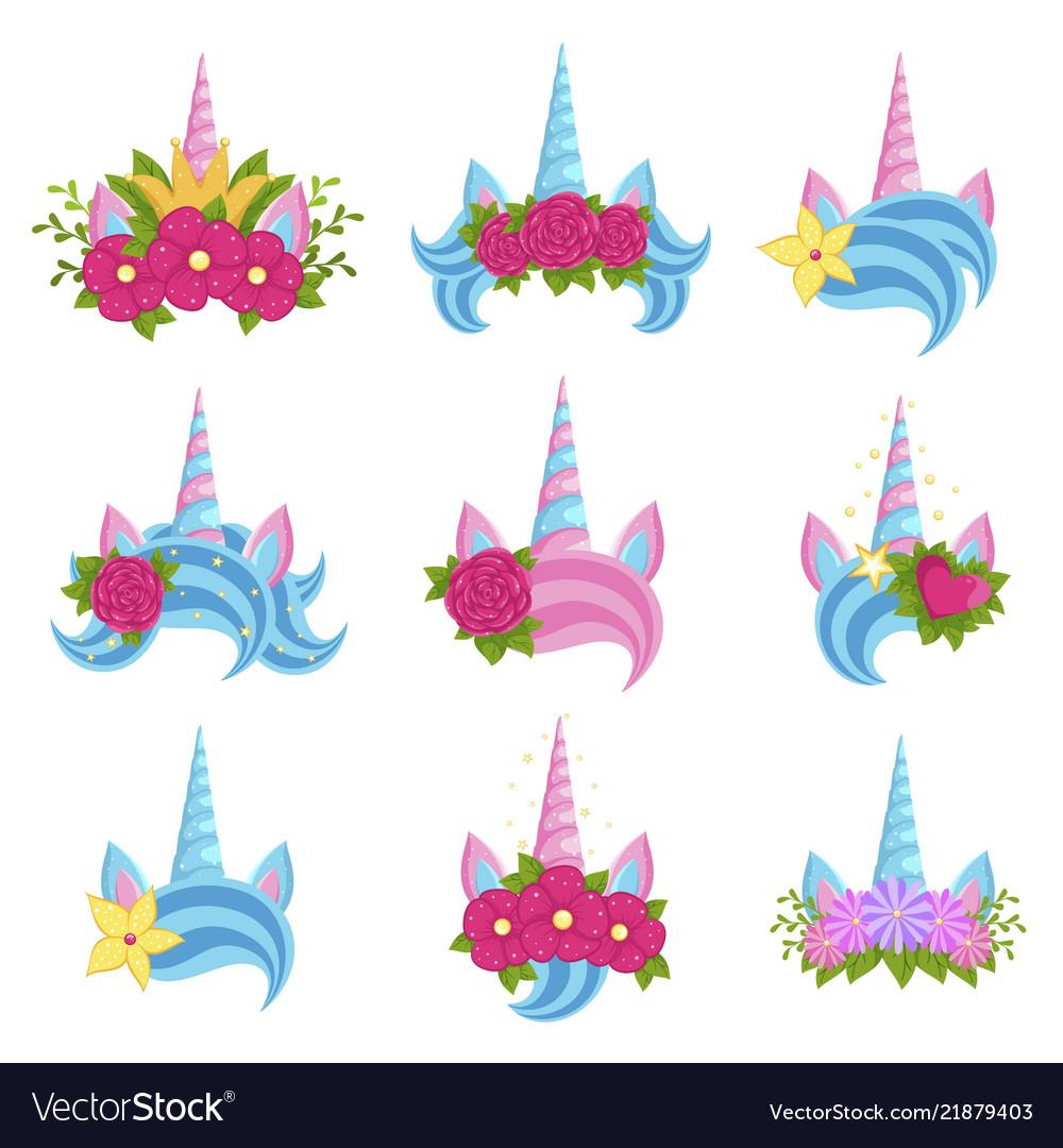 Unicorn beautiful tiaras with bright flowers set
