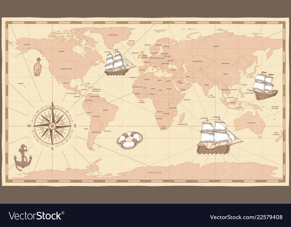Antique world map vintage compass and retro ship