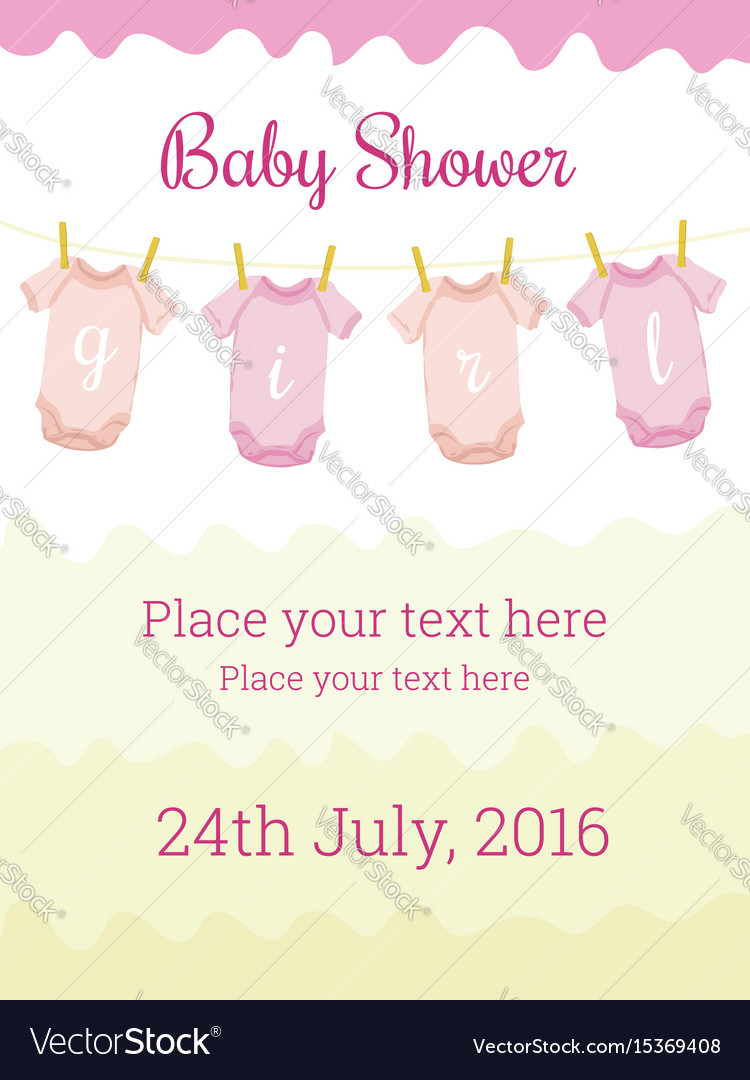 Baby shower invitation card template for baby girl