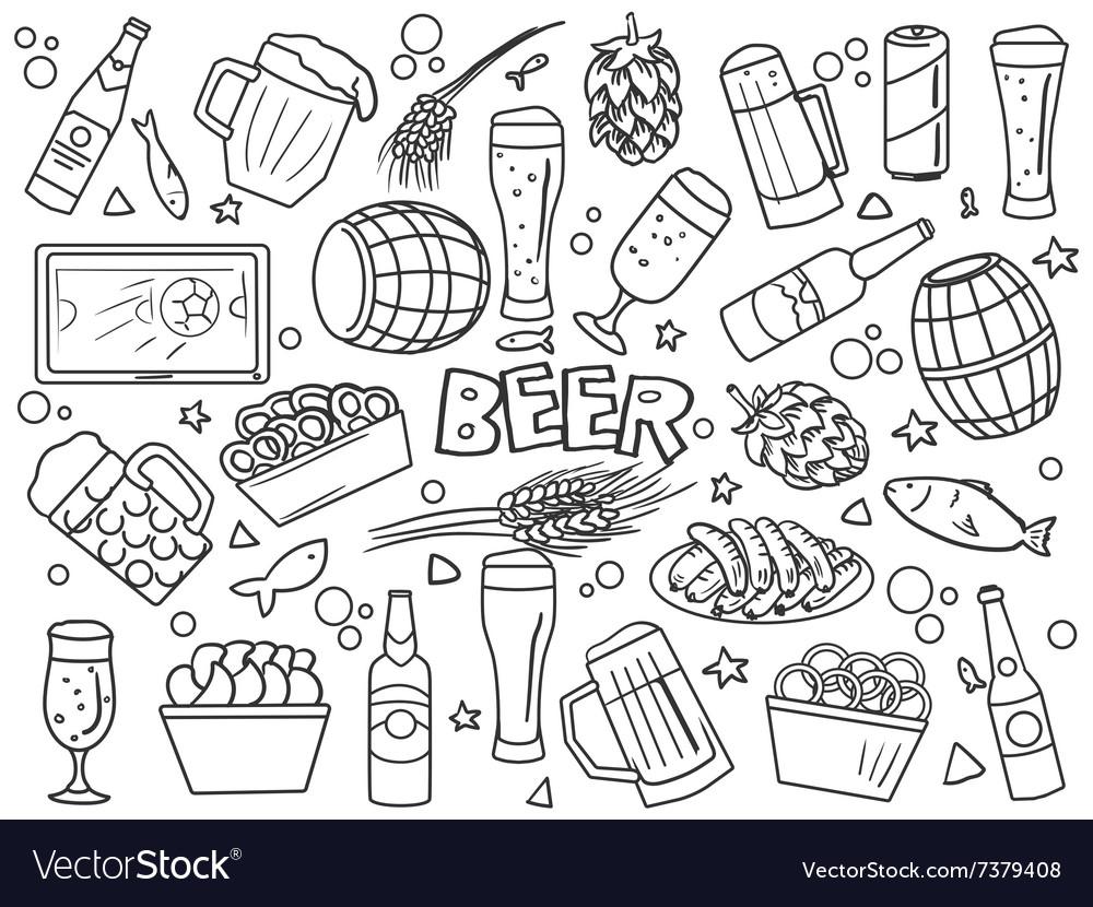 Beer elements line art style