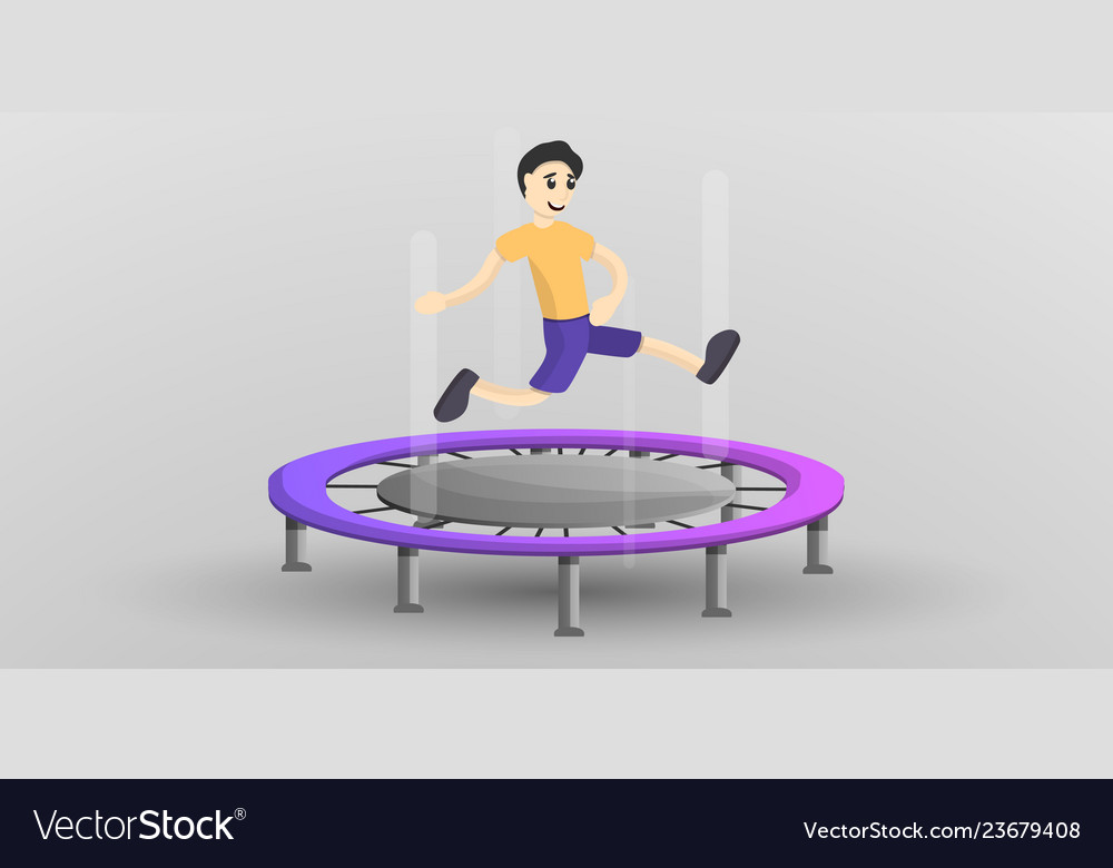 Boy at trampoline concept banner cartoon style