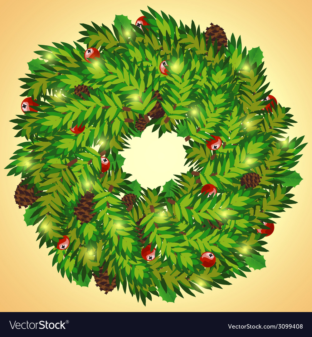 Christmas wreath with cones and holly berry