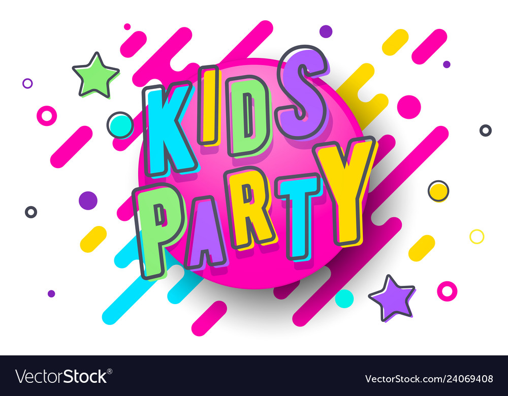 Colorful kids party banner template vector